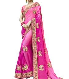 Buy Rani pink embroidered satin saree with blouse satin-saree online