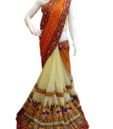 Buy Orange embroidered georgette saree with blouse lehenga-saree online