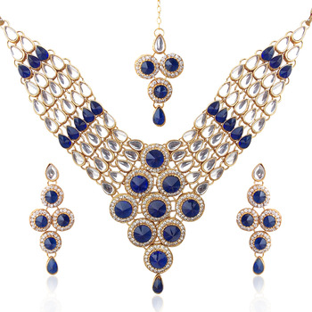 Ethnic Indian Jewelry Bollywood Deep Blue Bridal Kundan Like Necklace Set b156