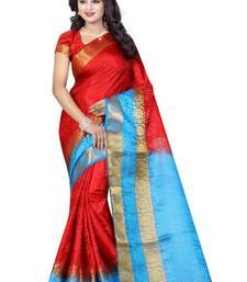 Buy Red woven tussar silk saree with blouse tussar-silk-saree online