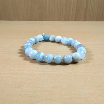 Exclusive Offer!! Aquamarine Bead Bracelet Size 8MM Set Of 3