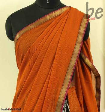 Orange Tiger Lily Pure Saree