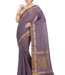 Buy Purple woven cotton saree  traditional-saree online