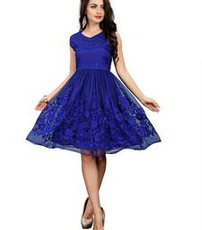 Blue embroidered net party-wear-kurtis