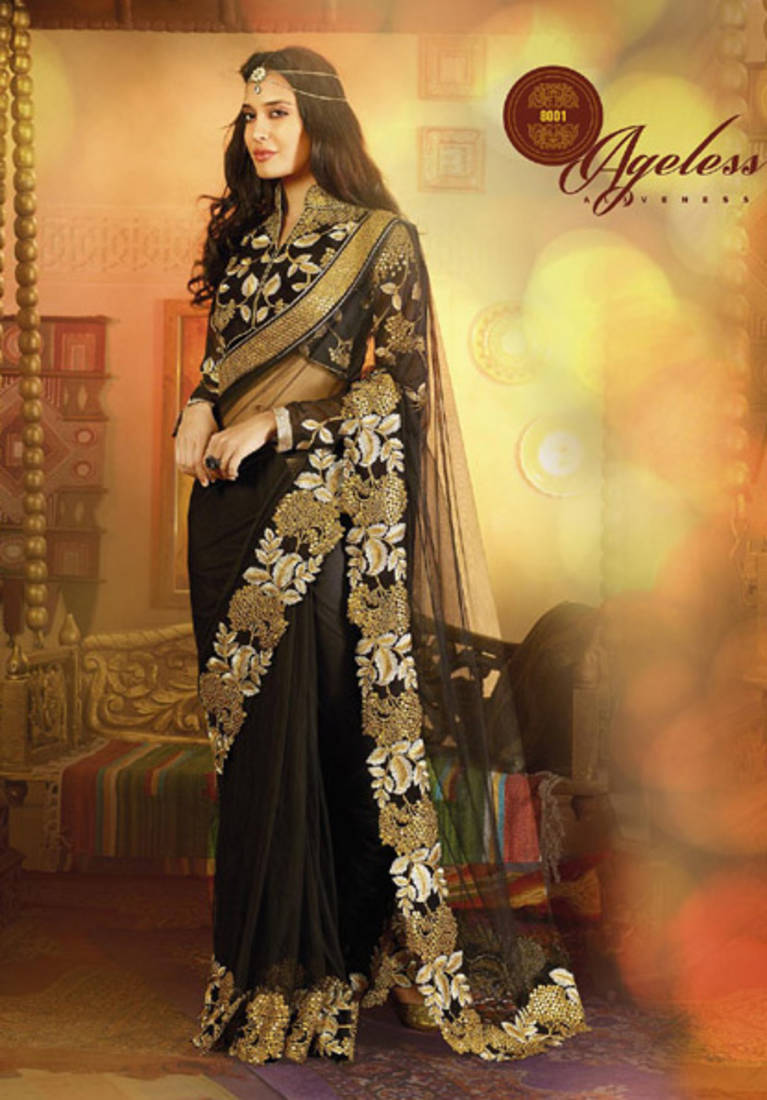 Royal Black Full Net Saree With Velvet Blouse Satin Inner Saree Zoom Fabrics Pvt Ltd 329078