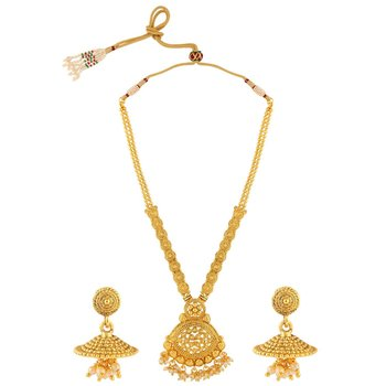 solanki creation gold paledet necklace-sets machhing erring