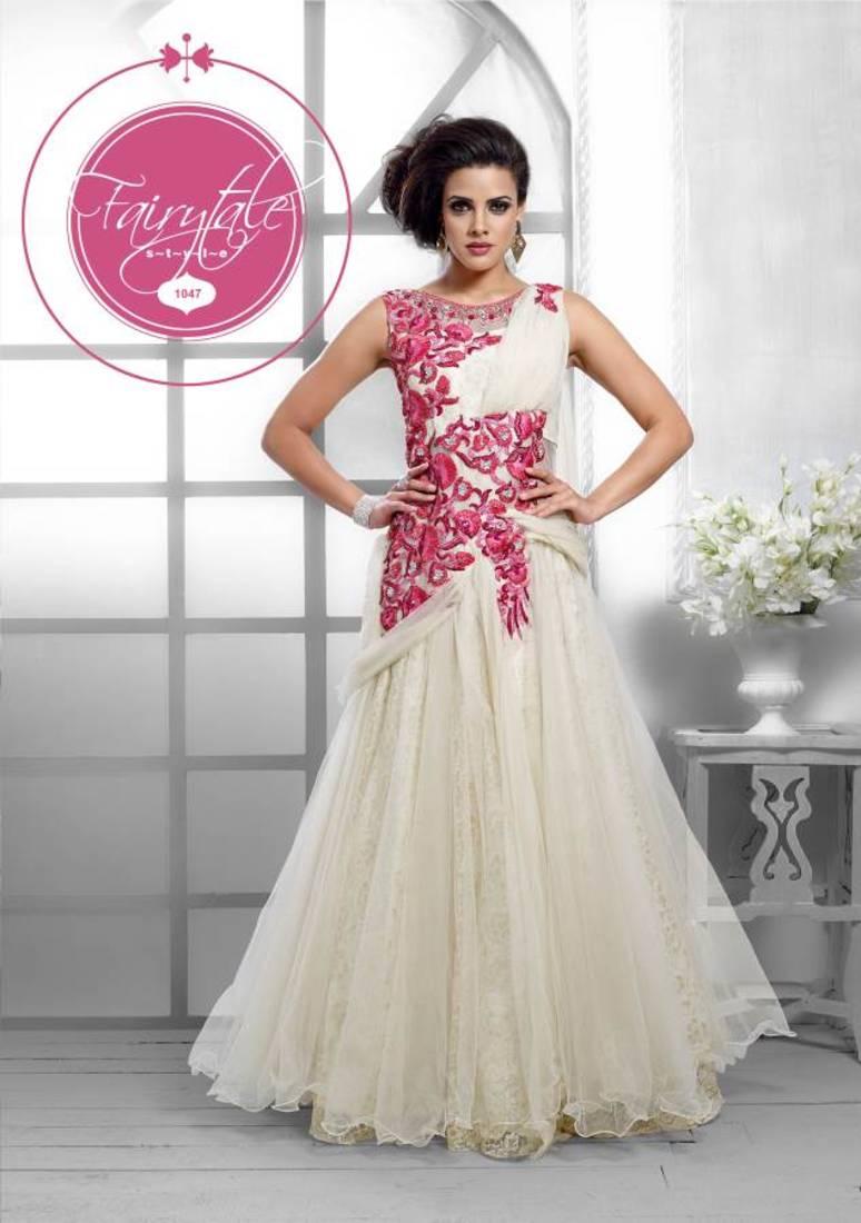 Buy Fancy designer silk light stone santoon salwar and net gown ...