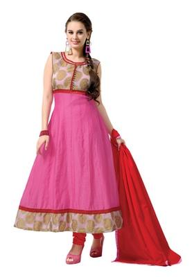 d087218eb2 Pink Colored Chanderi Cotton Plain Semi-Stitched Salwar Suit ...