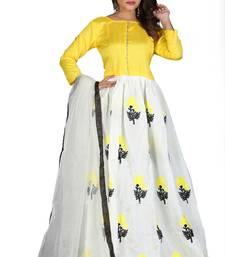 Buy White embroidered cotton salwar bangalore-silk-salwar-kameez online