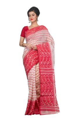 White & Red Dhakai Jamdani Saree