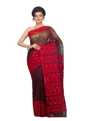 Premium Black & Red Dhakai Jamdani Saree