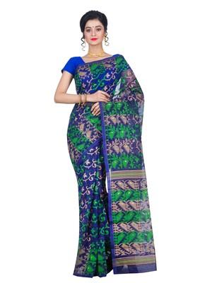 Premium Blue Muslin Jamdani Saree