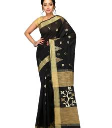 Buy Black woven ghicha cotton silk saree with blouse handloom-saree online