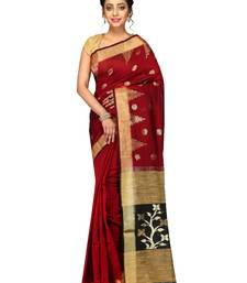 Buy Red woven ghicha work cotton silk saree with blouse handloom-saree online