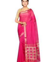 Buy Pink woven silk blend saree with blouse handloom-saree online