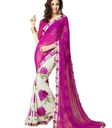 Buy Pink printed georgette saree with blouse bollywood-saree online