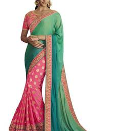 Buy Pink embroidered south silk saree with blouse bangalore-silk-saree online