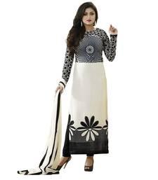 Buy Off-white floral print cotton salwar crepe-salwar-suit online