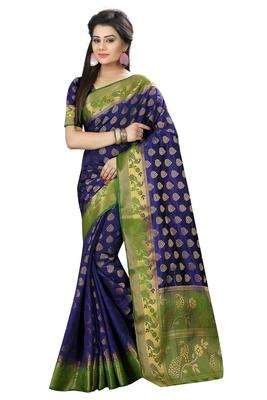Dark purple woven silk saree with blouse