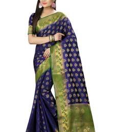 Buy Dark purple woven silk saree with blouse