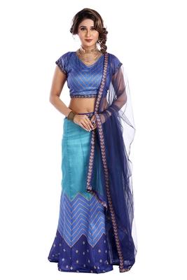 Blue printed art silk unstitched lehenga
