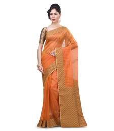 Buy Gold hand woven saree with blouse organza-saree online