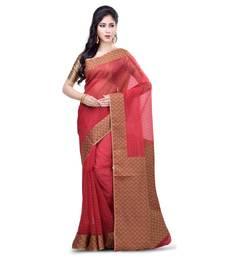 Buy Maroon hand woven banarasi saree with blouse organza-saree online