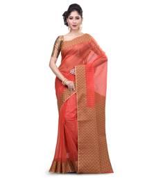 Buy Orange hand woven banarasi saree with blouse organza-saree online