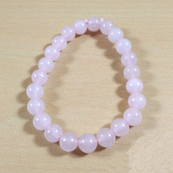 Exclusive Offer!! Rose Quartz Beads Bracelet Size 8MM Set Of 3