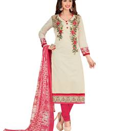 Buy  women beige embroidery chanderi cotton salwar suits with dupatta   women-ethnic-wear online
