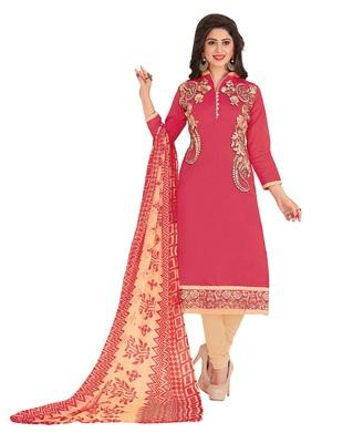Chanderi Embroidery Unstiched Straight Fit Salwar Kameez Dupatta Suit Set