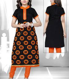Black embroidered chanderi embroidered-kurtis