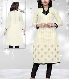 Buy Off white embroidered chanderi embroidered-kurtis embroidered-kurtis online