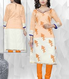 Buy Light peach embroidered chanderi embroidered-kurtis embroidered-kurtis online