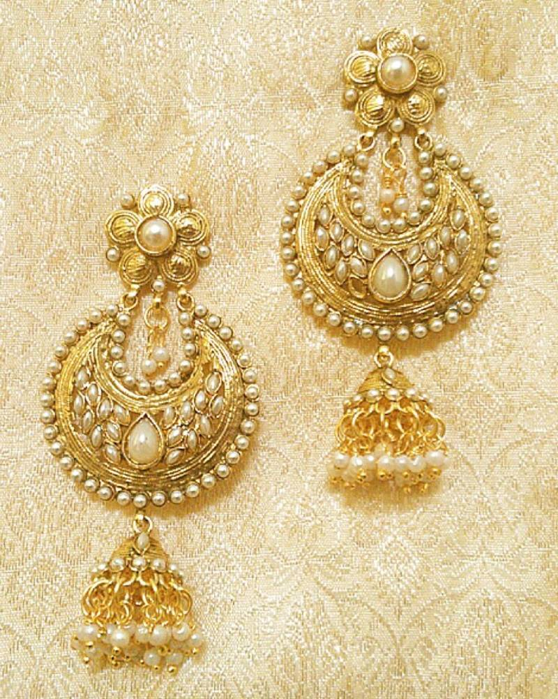 Antique Stylish White Pearl Long Jhumka Earrings For Wedding Party Gift