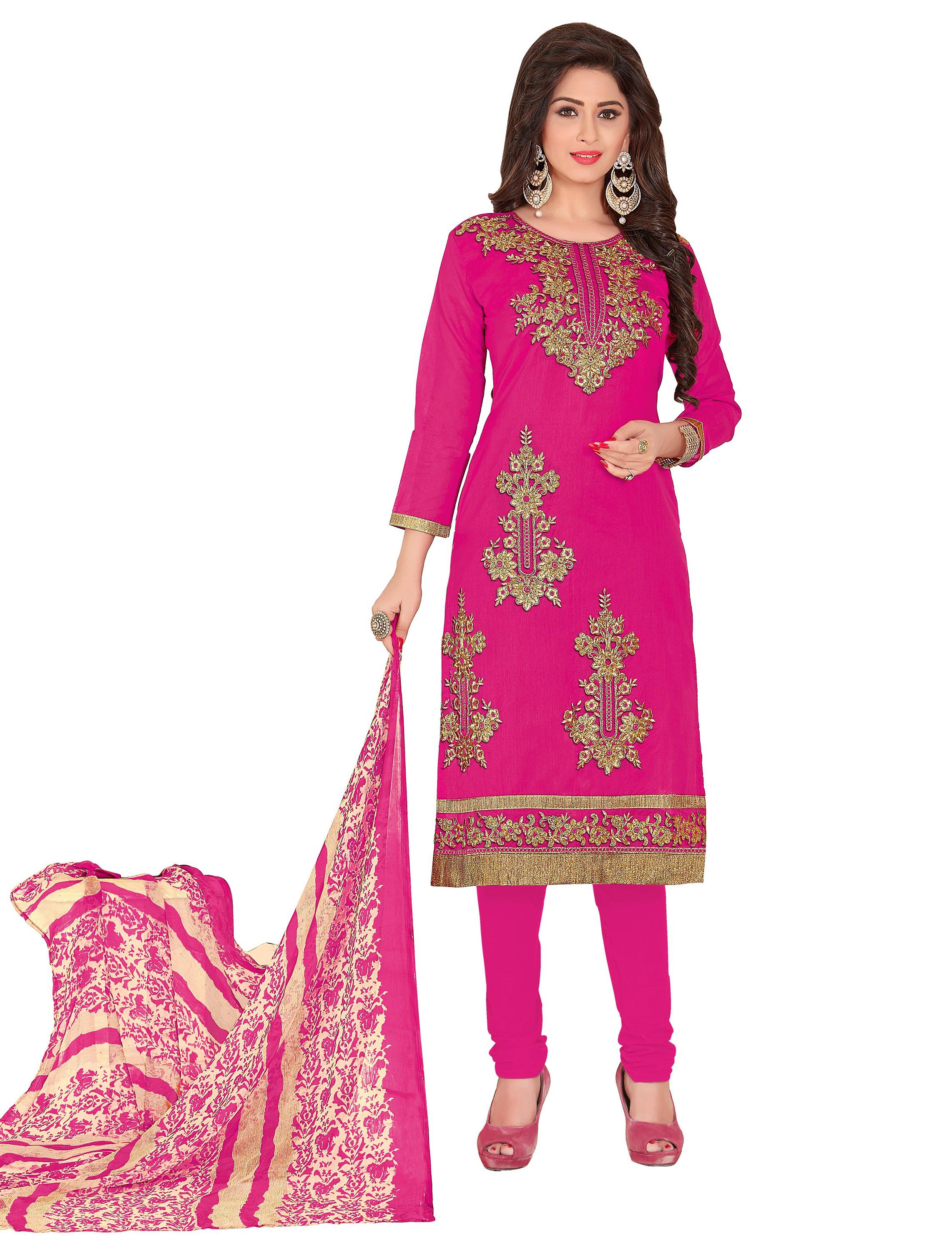 e5fcb632cc Chanderi Embroidery Unstiched Straight Fit Salwar Kameez Dupatta Suit Set -  DnVeens - 2449277
