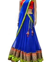 Buy Royal blue embroidered net unstitched lehenga punjabi-lehenga online