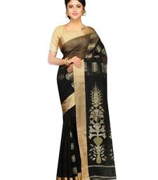 Buy Women's Handloom Silk Ghicha work Saree of bengal with Blouse Dhakai Jamdani Saree(Black) handloom-saree online