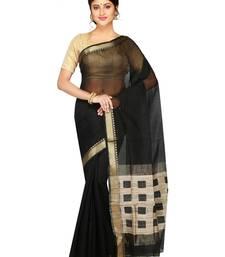 Buy Women's Handloom Silk Cotton Saree of bengal with Blouse Dhakai Jamdani Saree(Black) handloom-saree online