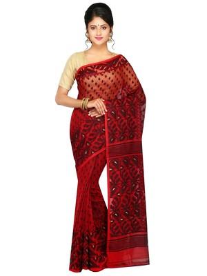 Women'S Dhakai Jamdani Saree In Muslin(Red & Black)