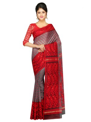 Women'S Dhakai Jamdani Saree Of Bengal In Muslin (Grey & Red)