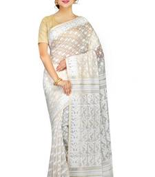 Buy Women's Dhakai Jamdani Saree of bengal in Muslin(White) jamdani-saree online