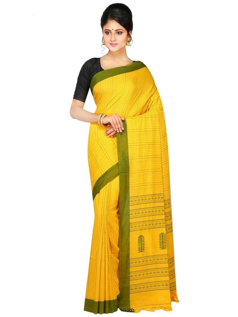b7e42aad622 Handloom Pure Cotton Saree of bengal with Blouse Dhakai Jamdani Saree(Yellow)  ...