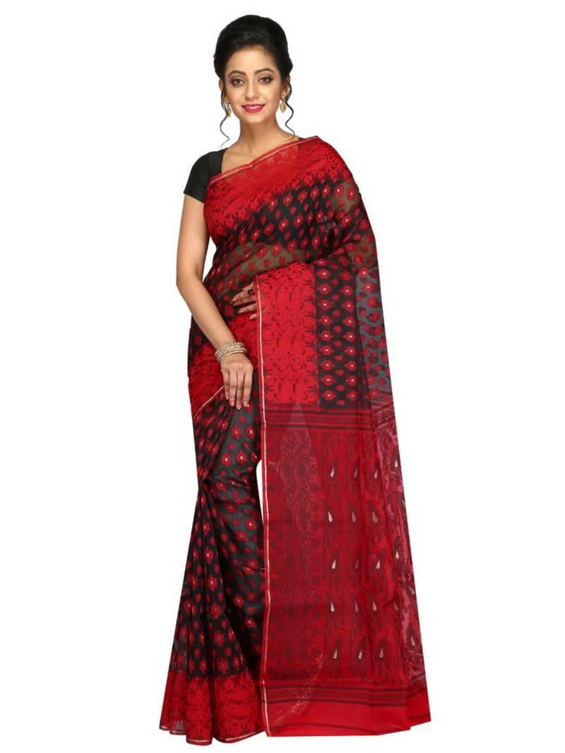 1e4152f8e4ee2 Women s Dhakai Jamdani Saree of bengal in Silk with Blouse Piece (Black    Red) ...
