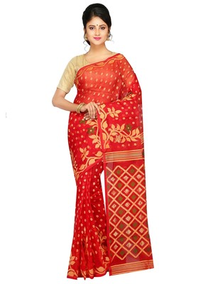 253c3276b3dc2 Women s Dhakai Jamdani Saree of bengal in Silk with Blouse Piece ...