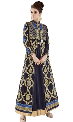 Navy Blue  Resham Embroidery,Diamond Stone And Lace Patta Work Wedding Anarkali Suit