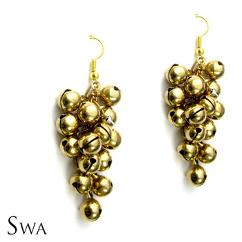 Golden Ghungroo Cluster Earrings