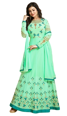 Sea Green  Resham Embroidery & Diamond Stone Work Floor Length Style  Anarkali Salwar Kameez