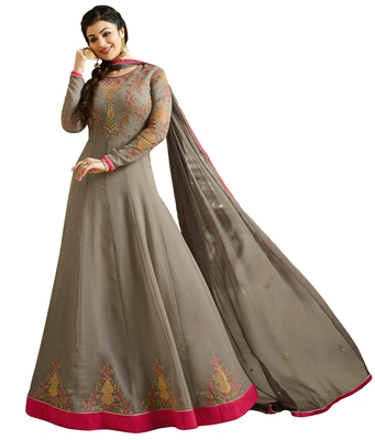 Grey  Resham Embroidery,Diamond Stone Work & Lace Work  Anarkali Salwar Kameez