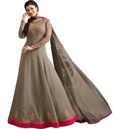 Buy Grey  Resham Embroidery,Diamond Stone Work & Lace Work  Anarkali Salwar Kameez ayesha-takia-salwar-kameez online